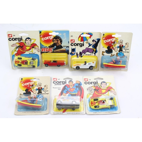 733 - 7 x Corgi Junior TV Related models to include: 2 x Shazam Cars, Superman Van, Penguinmobile, 2 x Pop...