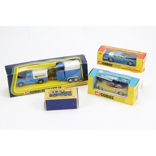 725 - 3 x Corgi models to include: Set 15 - Land-Rover & Horsebox, 338 - Chevrolet Camaro, 301 - Iso Grifo...