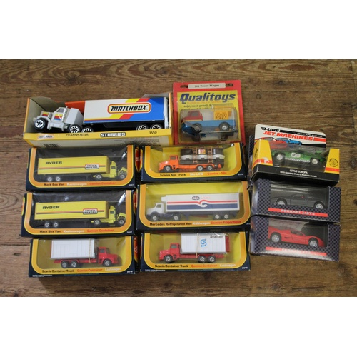 740 - A Large Box of Models to include 6 x 1970's Boxed Corgi Junior Trucks, 8 x Boxed Ferrari Models, a L...