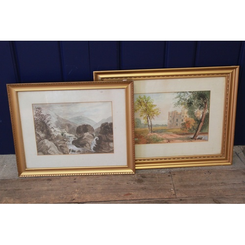 594 - Two water colours, depicting scenes of Cumberland....