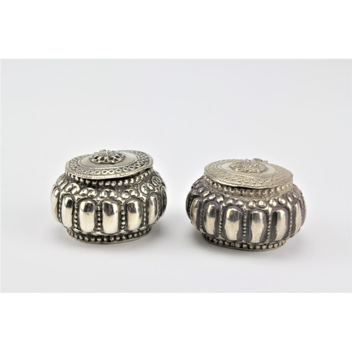11 - 2 x Indian Silver coloured White Metal trinket boxes, Gourd shaped & fluted decoration....
