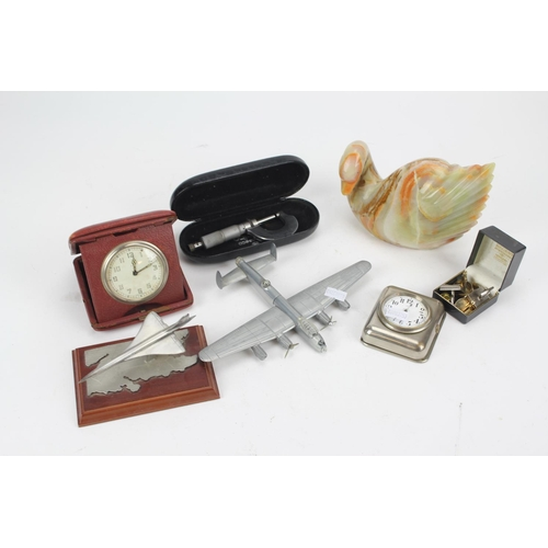 211 - An 8 day clock in plated frame, Concorde Plane, Micrometer, etc. Nice Lot....