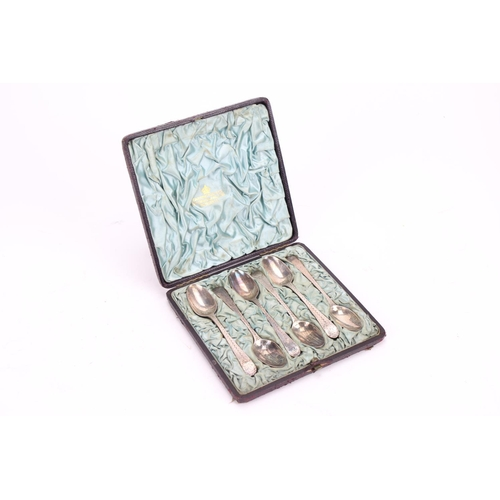30 - Six silver old English pattern bright cut Georgian tea spoons in original case....