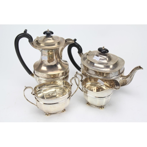 59 - A four piece silver fluted edged Georgian design coffee set. Different dates and makers. Weight: 141...