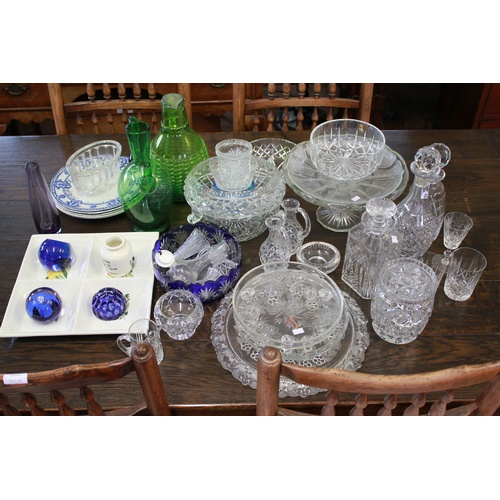 225 - A quantity of domestic china, cut glass decanters, claret, etc....