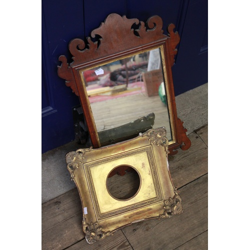 240 - A Georgian design walnut veneered mirror, and a circular gilt frame....