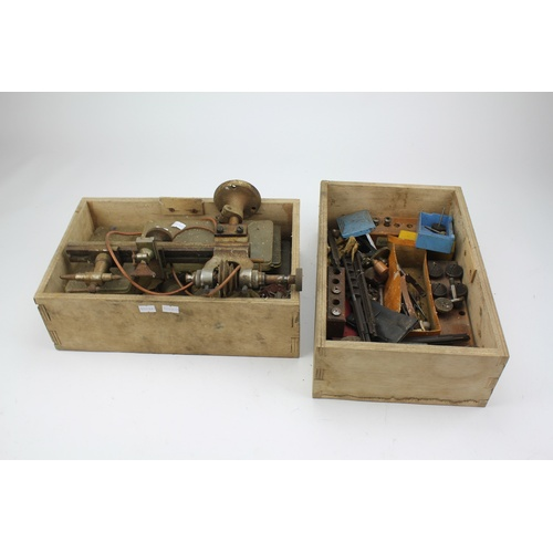 77 - An Original Watch Makers Lathe in Original Wooden Box with accessories....
