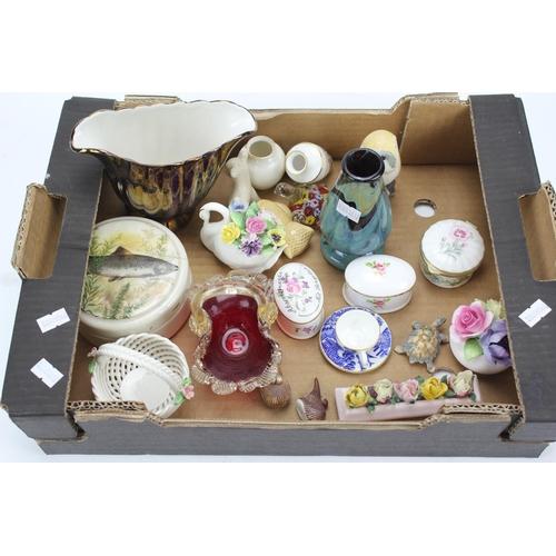 106 - A Medina vase, trinket boxes, red glazed vase, etc....