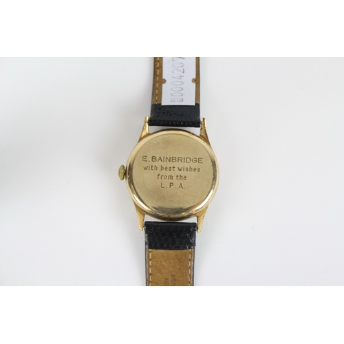 79 - A Gents Gold Longines Wrist Watch on Leather Strap.