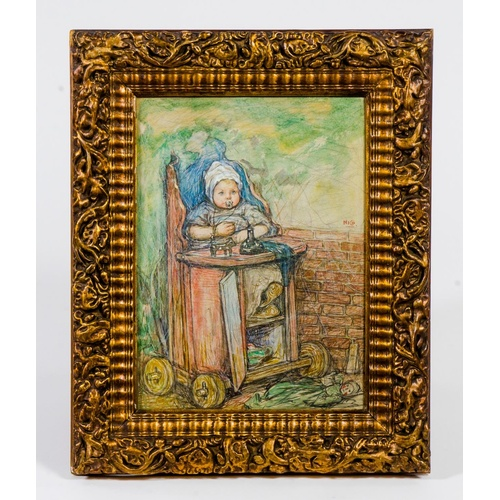 271 - A Scarce Nico Jungmann 1872 to 1935 signed water colour of a Dutch Baby in a high chair, toy on floo...