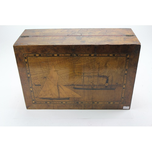 107 - A Writing Desk with Sailing Scenes with Burgundy inlay....