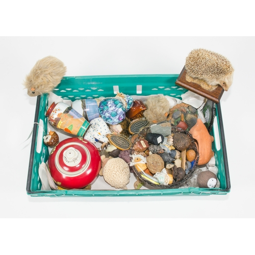 52 - Various collectables, including stuffed hedgehogs, various animal ornaments, etc....