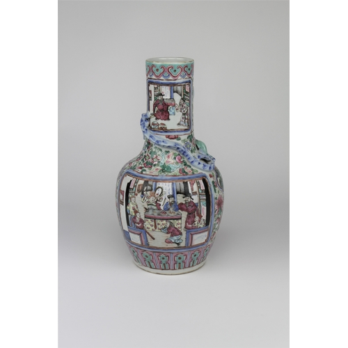 208 - A Chinese Cantonese enamelled vase, decorated with scenes of interiors, peacock feather dress, drago...