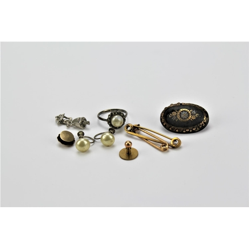22 - A Tortoise shell pique brooch with gold & silver inlay, nappy pins, earrings & charms....