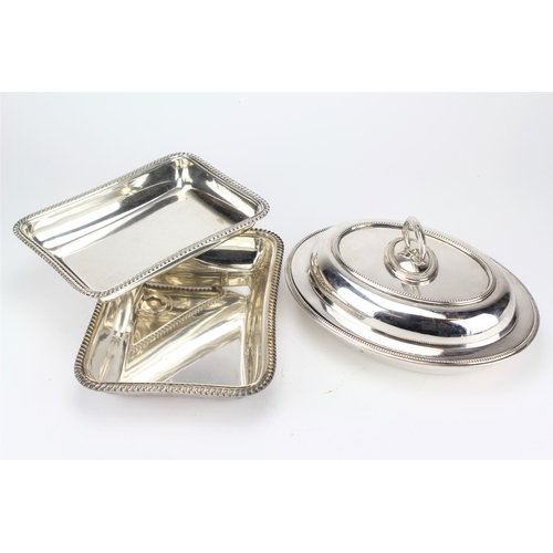 15 - An Oval silver plated beaded edge tureen and cover & an oblong entree dish and cover....