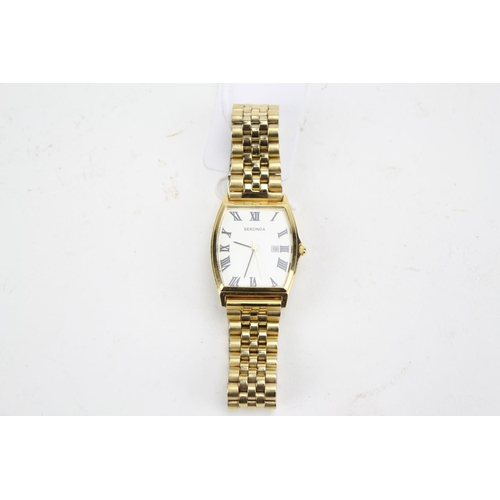 44 - A gentleman's gold coloured Sekonda wrist watch, with a metal strap. No: 03546 on case.
