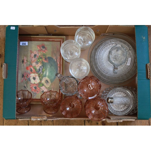 94 - A quantity of 1930's pink Sunday dishes, fruit set, floral painting, etc....
