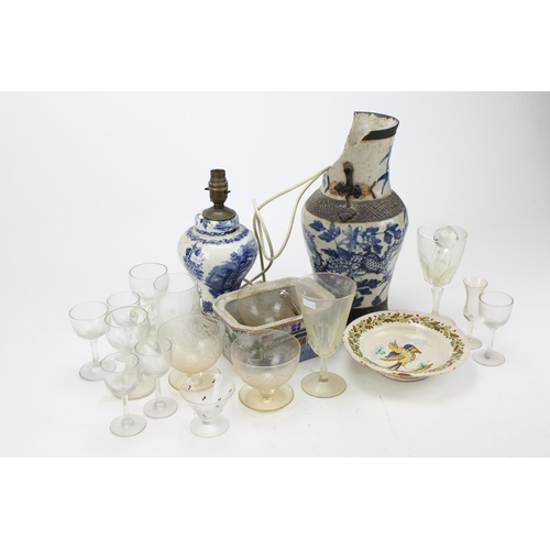 84 - A Chinese blue and white decorated vase, similar table lamp, plate, etc. AF....
