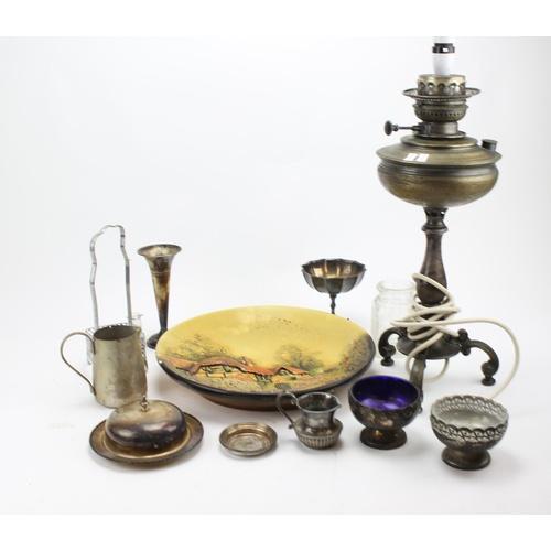 55 - A Brass oil lamp on tripod base, various plates, prints, etc....