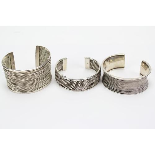 6 - Three Silver Mexican Cuff Bangles....