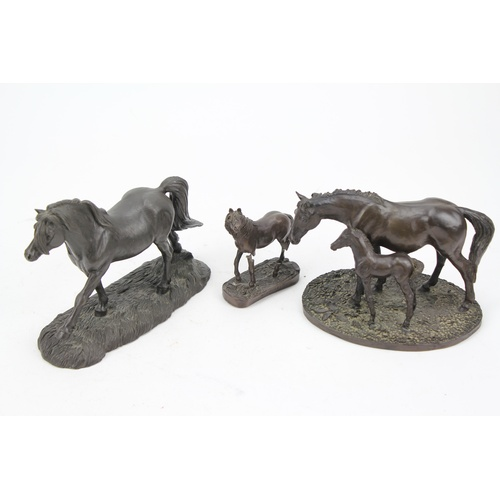 63 - A Resin study of a New Forest Pony, a Welsh Pony and one other horse....