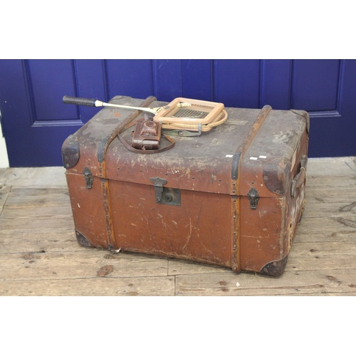 86 - A Cabin Trunk with wood binding, a badminton racket and a Paxette camera....