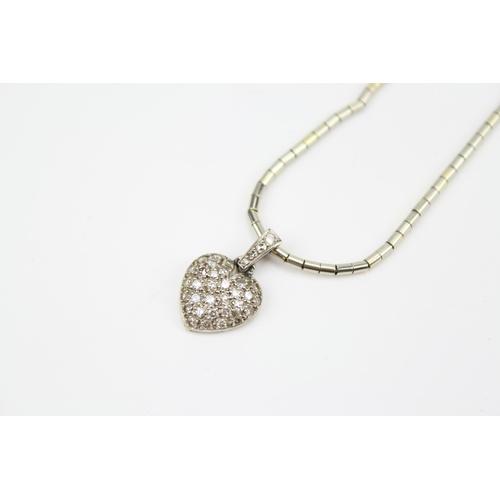 37 - A Heart shaped Diamond pendant on chain....