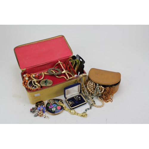 41 - Two boxes of costume jewellery, chokers, beads, pearls, etc.