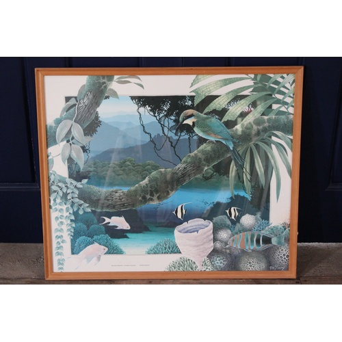 282 - A David Stacy Print of Parrot & Tropical Fish, Framed & Glazed....