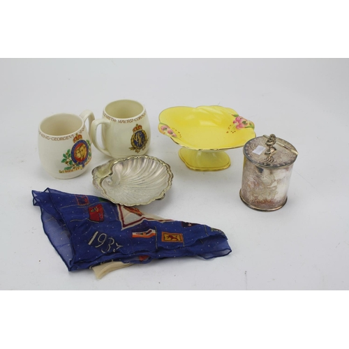 67 - A Royal Winton Pin Dish along with a collection of Coronation Collectables, Scarf, Silver Plate, etc...