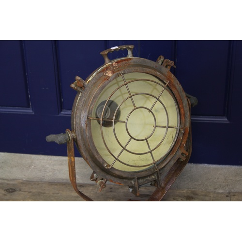 339 - An Original Second World War Steel & Iron Cased Naval Searchlight with Front Grille & Swivelling Ped...