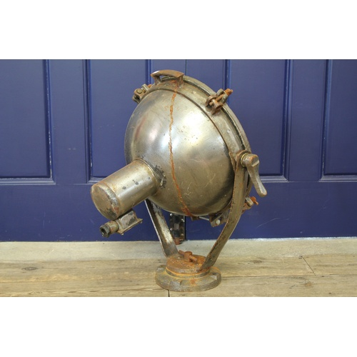 340 - An Original Second World War Steel & Iron Cased Naval Searchlight with Front Grille & Swivelling Ped...