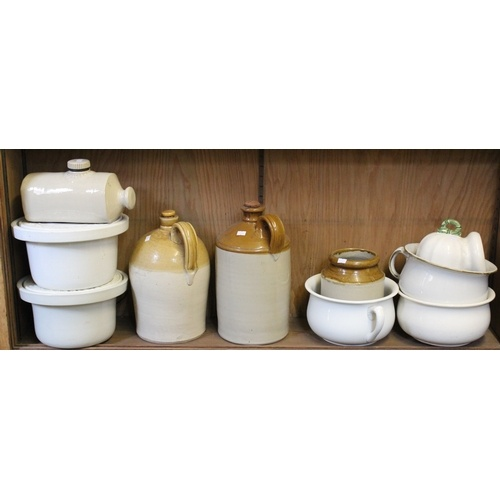 90 - A collection of chamber pots, Commode + Lid Pots & various stoneware jars....