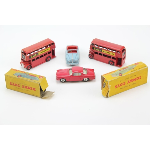 426 - 4 x Dinky models to include 185 - Alfa Romeo, 2 x 291 Exide Buses & a 106 Austin Atlantic in Blue in...