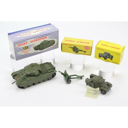 448 - 3 x Dinky Military Models to include: 651 - Centurion Tank