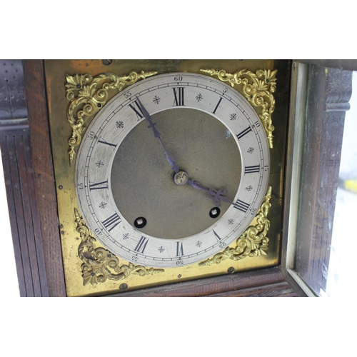 49 - A late 19th Century oak cased bracket clock with guilt Chapter ring, nickel silver case & bronzed fl...