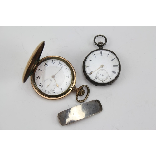 48 - A Silver Cased Pocket Watch with enamelled dial, second sweep & a Gold Plated Pocket Watch L.W.Delap...
