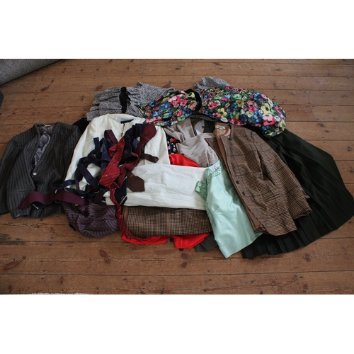 87 - A collection of gentleman's clothing, including blazers, along with a collection of various bags....