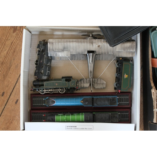 93 - A box of original leather bags, along with a box of model railway trains....