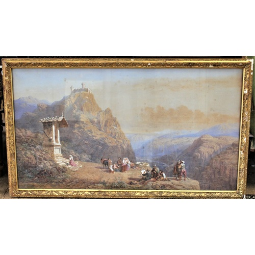 260 - A Charles Vatcher watercolour depicting cavaliers and castles, 1818-1883, Rosa/De/Salvator among the...