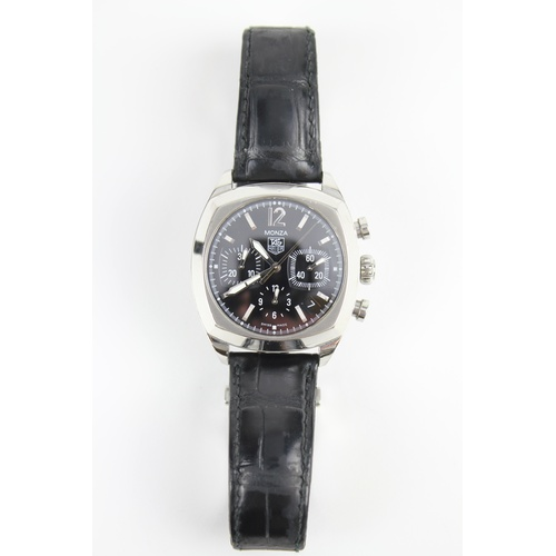 161 - A 'TAG HEUER' MONZA classic chronograph gentlemans watch. Stainless Steel, Black leather Strap, Blac...