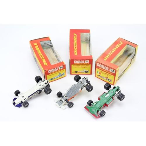 1 - 3 x 1970 Corgi Models to include: 150 - Surtees F/1 Car, 151 - Mclaren F/1 Car & a 153 - Team Surtee...