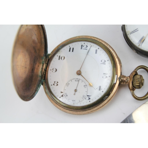 162 - A Silver Cased Pocket Watch with enamelled dial, second sweep & a Gold Plated Pocket Watch L.W.Delap...