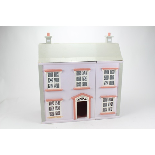 23 - A Scratch Built 1970's Dolls House painted Grey & Pink measuring: 2 Feet x 2 Feet in Excellent Condi...