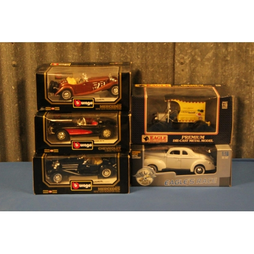 45 - 5 x 1/18th Scale Models to include: 3 x Burago, 1 x Eagle Collectibles & 1 x Eagle Race Models, All ...