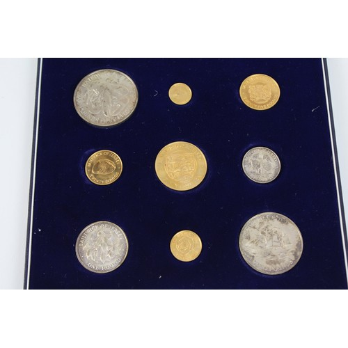 489 - A Scarce 1972 Bailiwick of Jersey Gold & Silver Royal Wedding Anniversary Set of 9 Gold & Silver Coi...