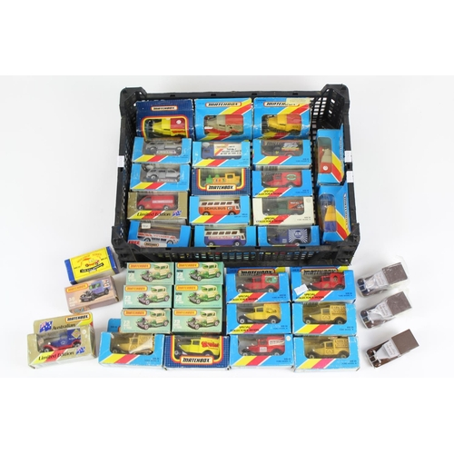 28 - 35+ Matchbox models including Ford Model A's Cars & Vans, Promotional versions, All Boxed apart from...