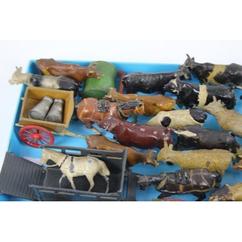 22 - A Tray of Original Lead Britains Farm to include: Wagons, Horses, Cows, etc. Fair/Good Original Cond...