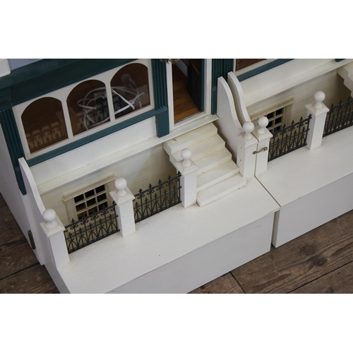 24 - A Large Scratch Built 3 Storey Doll's House designed as a pair of Terrace House/Shop Fronts, Apartme...