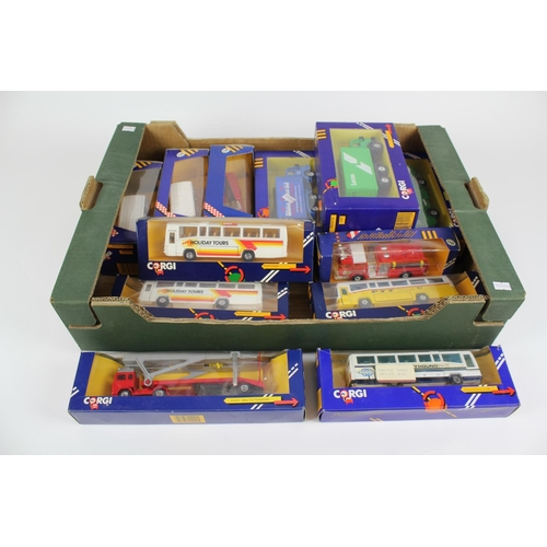 7 - A Tray of 12 x Corgi Models from the 1980's to include: Coaches, Vans, Trucks, etc. All Mint Models ...